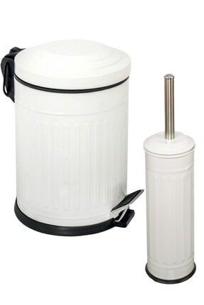 Foreca Vintage 2 Li Çöp Kovası Banyo Seti Çizgili Beyaz 0