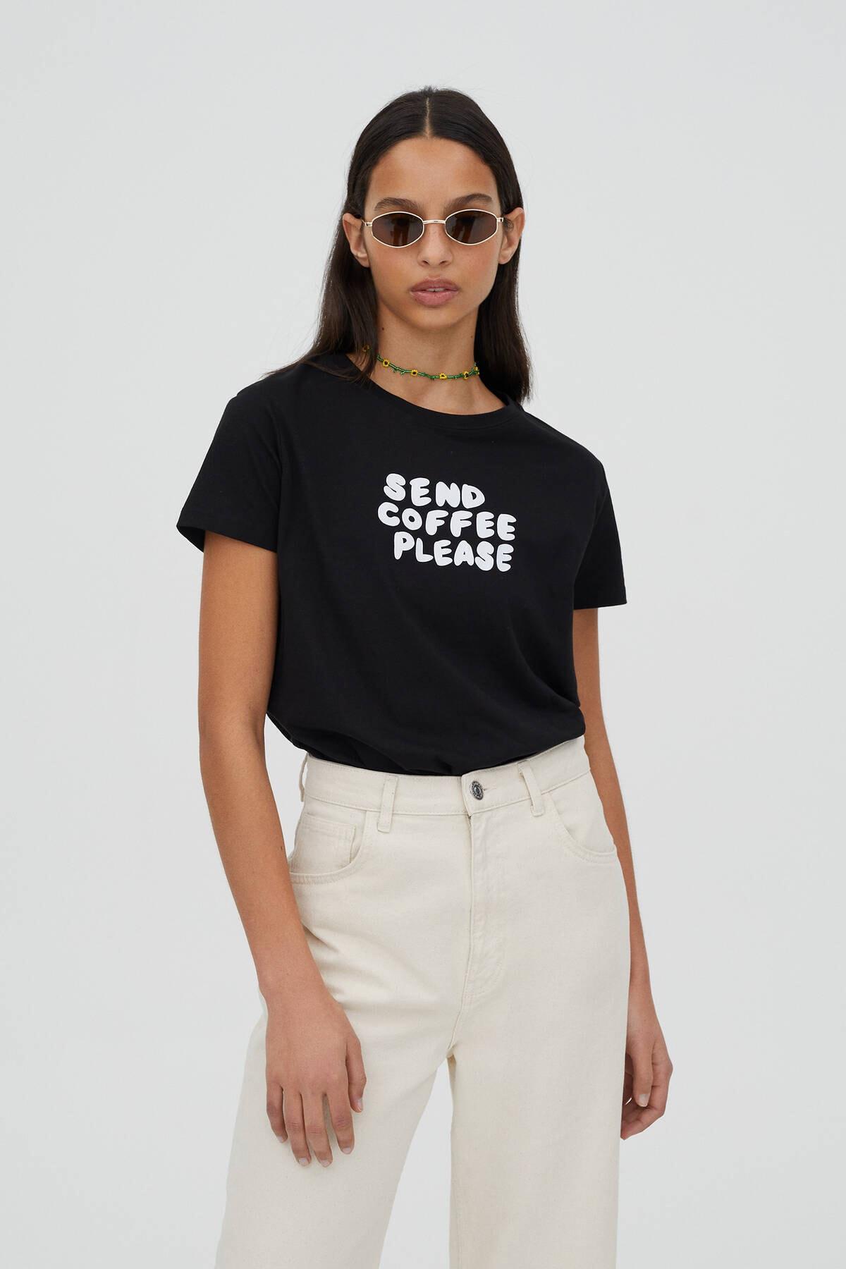 Pull & Bear Kadın Kontrast Sloganlı Siyah T-Shirt - %100 Organik Pamuklu 04240310 0