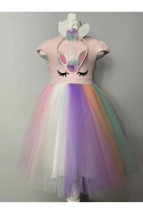 Buse&Eylül Bebe Kız Çocuk Pembe Unicorn Taçlı   Parti Elbisesi 1