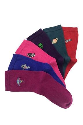 Bequeme Uzay Astronot Desenli Nakışlı Kokulu Renkli Çorap 6'lı 0