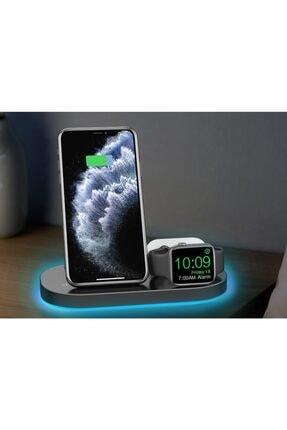MARSTEC 3 In 1 Apple Watch Samsung Iphone Airpods 15 Watt Kablosuz Beyaz Dock Stand Hızlı Şarj Istasyonu 1