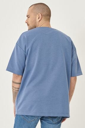 Altınyıldız Classics Erkek İndigo Günlük Rahat Yuvarlak Yaka Kısa Kollu Oversize Sweatshirt 3