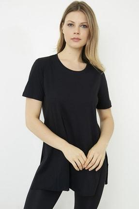 Vis a Vis Kadın Siyah Yanları Yırtmaçlı Uzun T-shirt 3