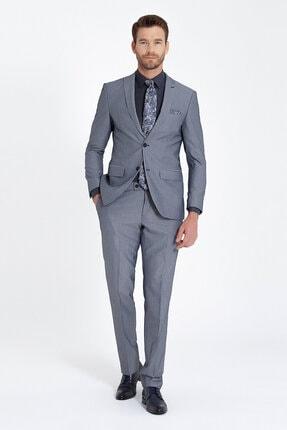 Erkek Lacivert Desenli Slim Fit Takım Elbise resmi