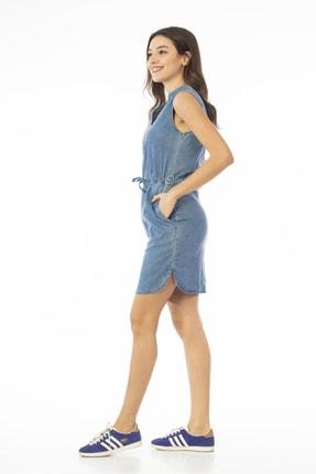 CEDY DENIM Kadın Mavi Kolsuz Midi Kot Elbise Jeans Cb695 2