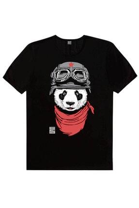 Rock & Roll Erkek Siyah Bandanalı Panda, Siyah Satürnde Panda, Beyaz Uzi Panda 3'lü Eko Paket T-shirt 1