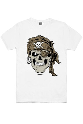 Rock & Roll Erkek Siyah Sakallı Kurukafa, Motorcu Kurukafa, Beyaz Korsan Kurukafa 3'lü Eko Paket T-shirt 3