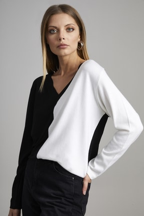 ELBİSENN Kadın Siyah V Yaka Garnili Bluz 1
