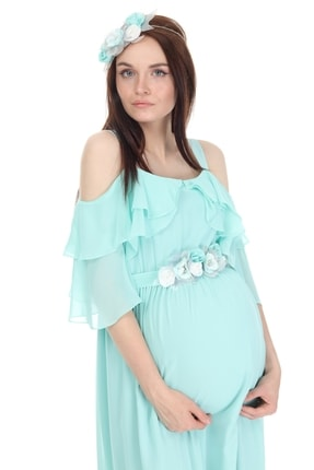 Entarim Kadın Yeşil Hamile Maxi Baby Shower Elbisesi 6021düz 1