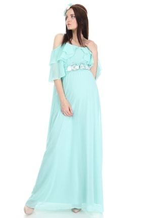 Entarim Kadın Yeşil Hamile Maxi Baby Shower Elbisesi 6021düz 3