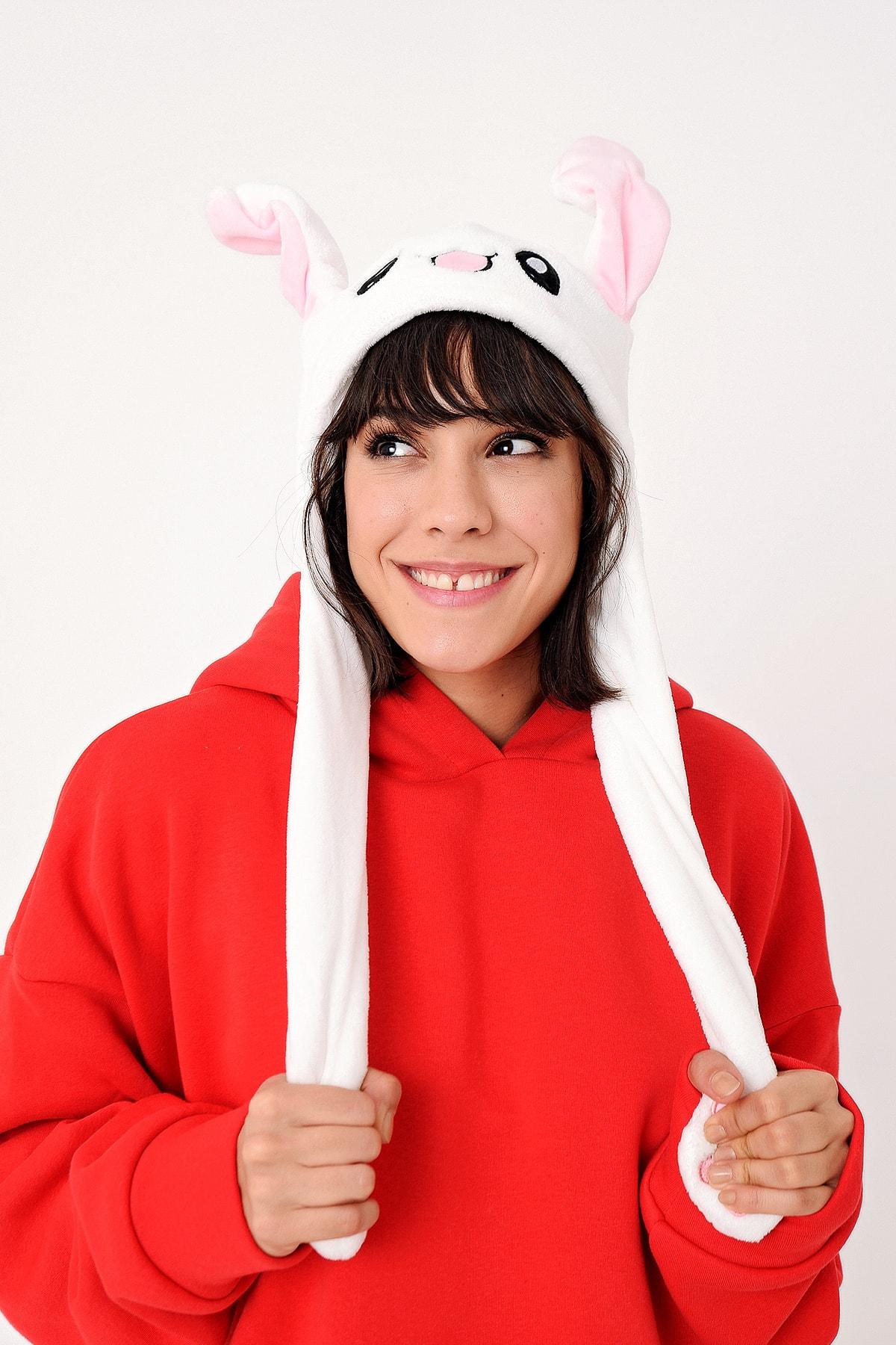 Kulakları Hareket Eden Tavşan Şapka Beyaz