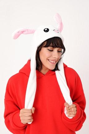 YOYOSO Kadın Beyaz Kulakları Hareket Eden Tavşan Şapka 3