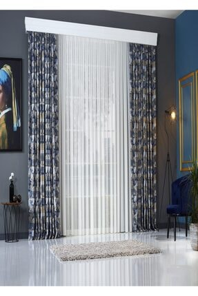 Elenor Mavi / Gri Geometrik Desenli Renkli Fon Perde Zack - Pilesiz - Büzdürmeli Ekstrafor 1