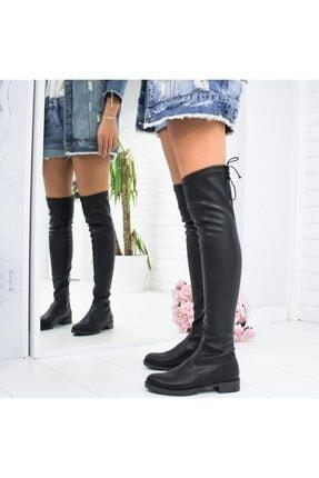 İmerShoes Kadın Siyah Dizüstü  Fermuarlı Suni Deri Streç Çizme 2