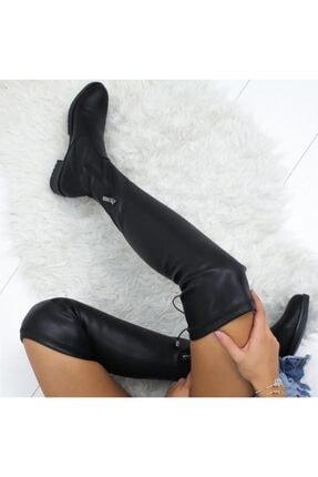 İmerShoes Kadın Siyah Dizüstü  Fermuarlı Suni Deri Streç Çizme 3
