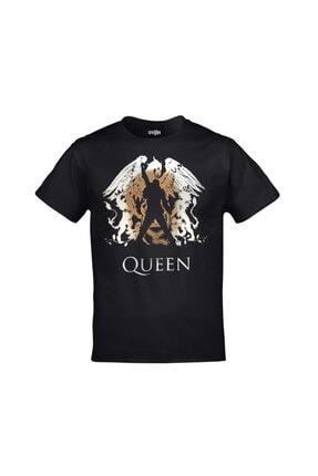 Orijin Tekstil Unisex Siyah Queen Logo Freddie Mercury Baskılı Tshirt 0