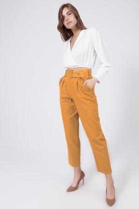 Y-London Kadın Sarı Kemer Detaylı Pileli Yüksek Bel Pantolon 39522 2