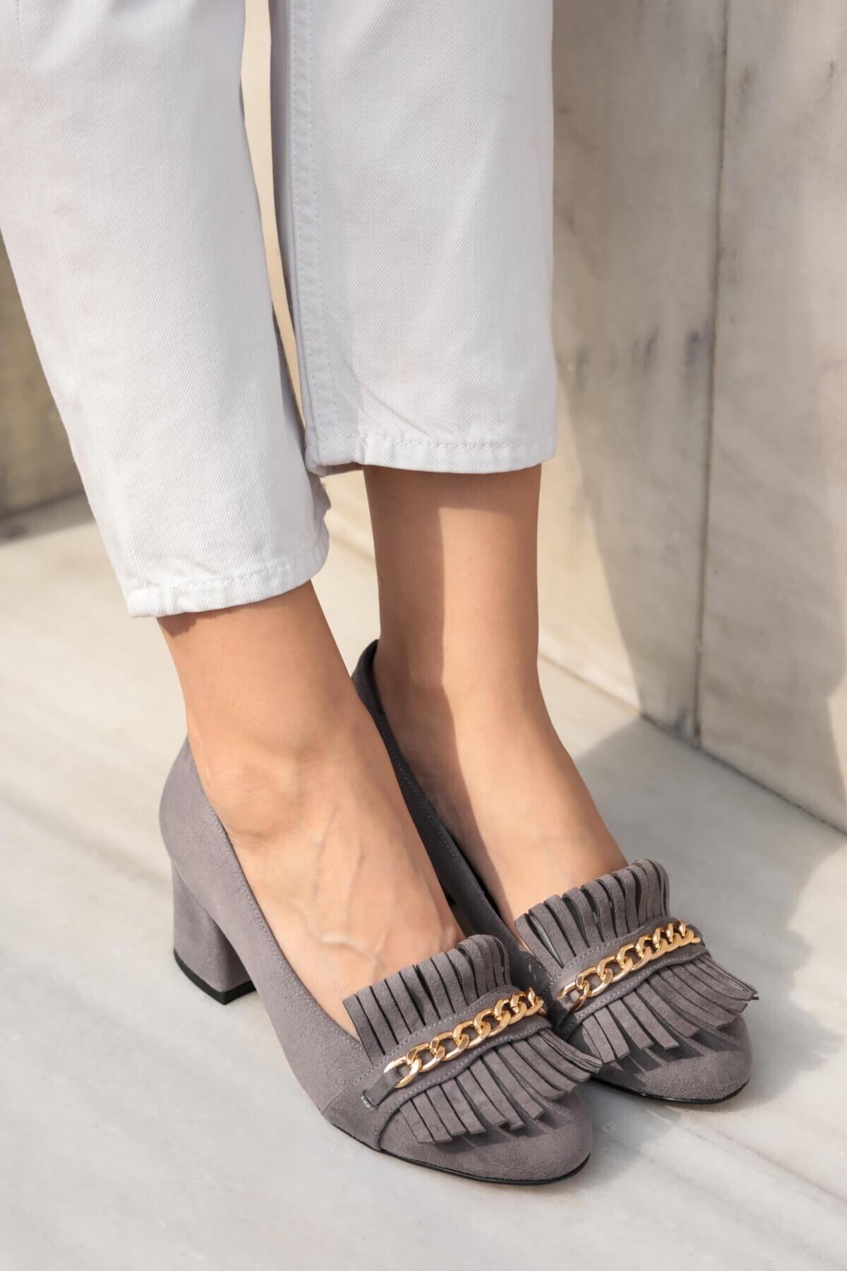 Sharon Gri Topuklu Ayakkabı