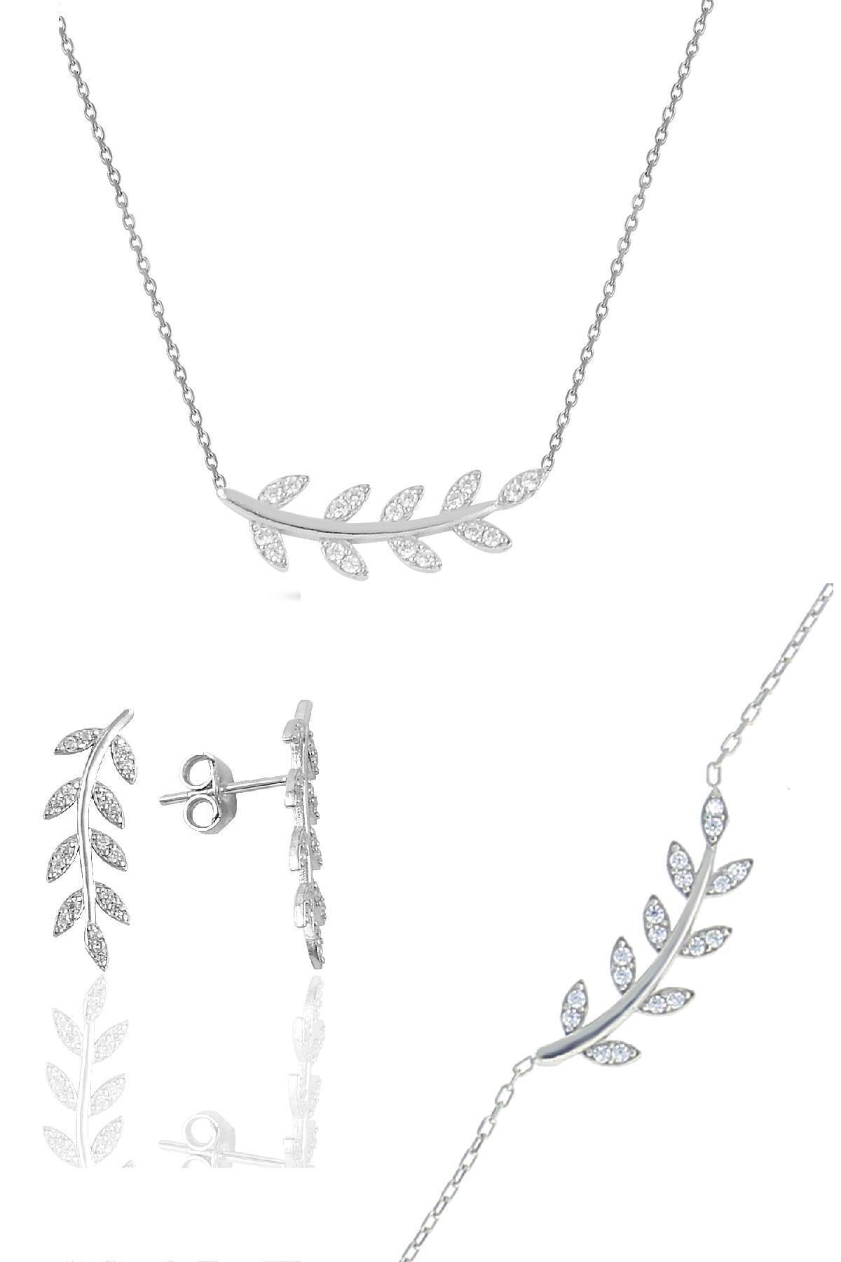 Söğütlü Silver Gümüş Rodyumlu Zirkon Taşlı Yaprak Üçlü Set 0