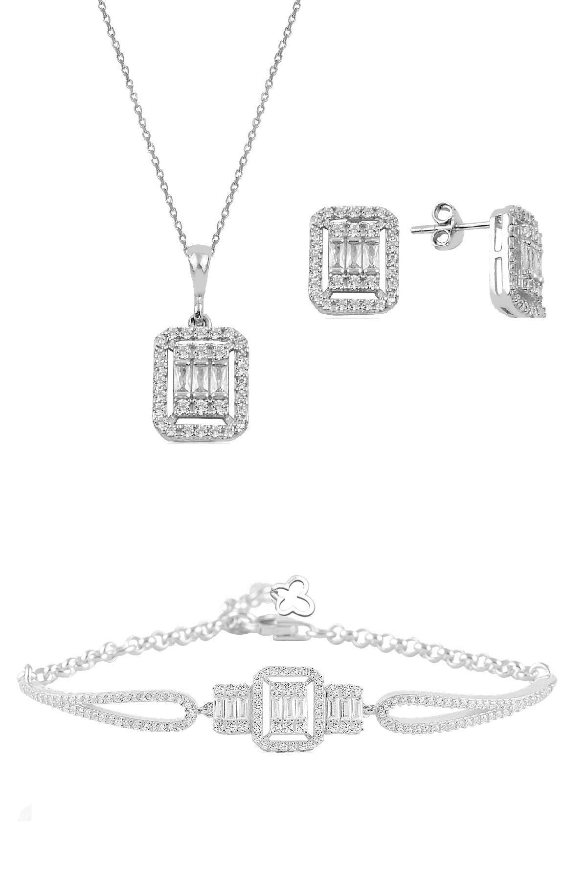 Söğütlü Silver Gümüş rodyumlu baget taşlı  kolye küpe ve bilezik  gümüş set 0