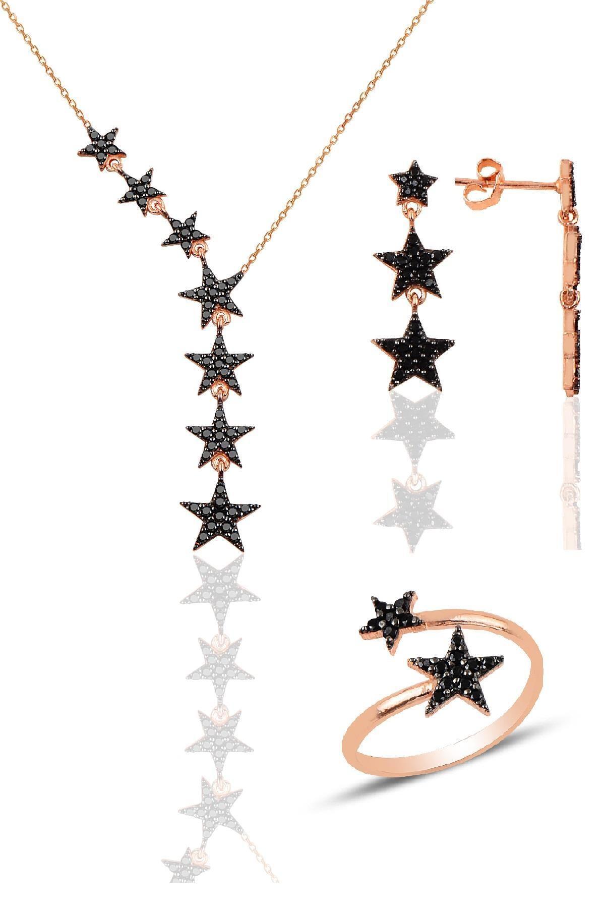 Söğütlü Silver Gümüş rose siyah taşlı kuyruklu yıldız kolye kupe ve yüzük üçlü set 0