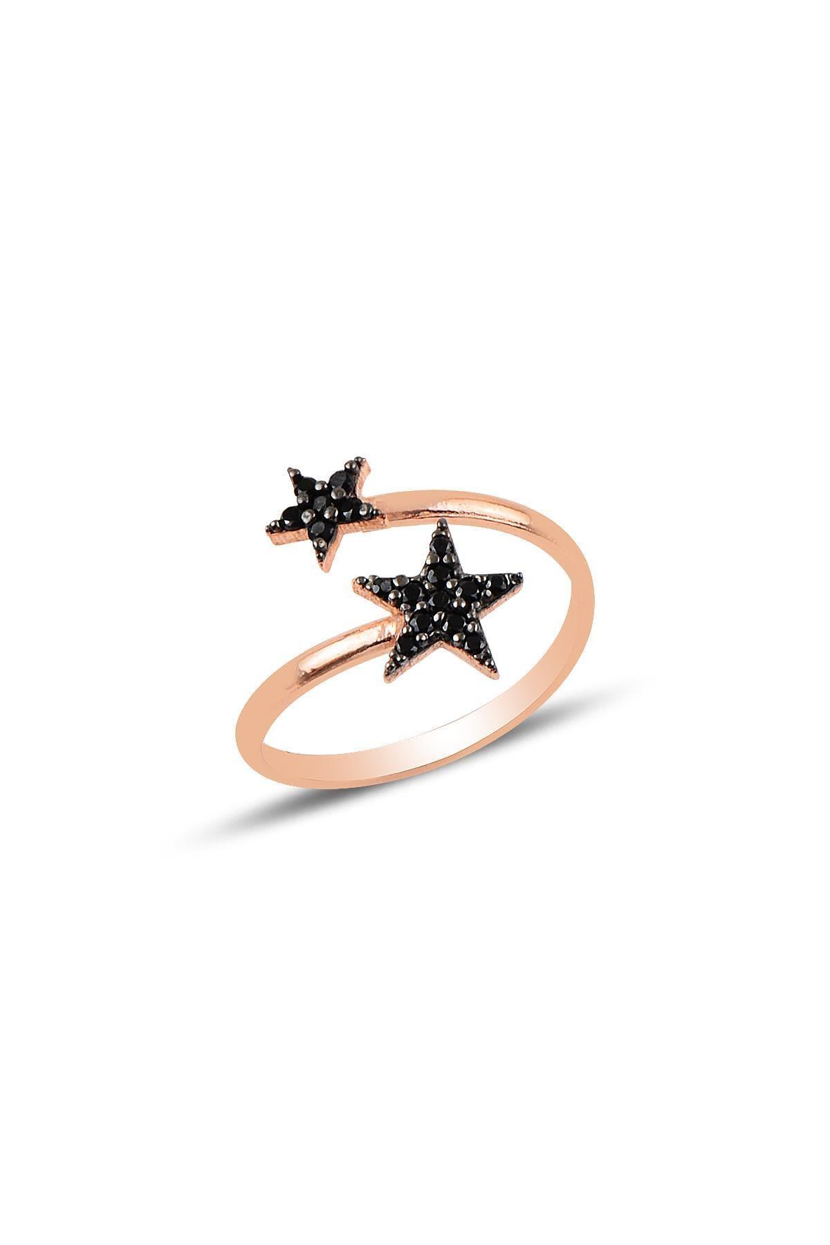 Söğütlü Silver Gümüş rose siyah taşlı kuyruklu yıldız kolye kupe ve yüzük üçlü set 3