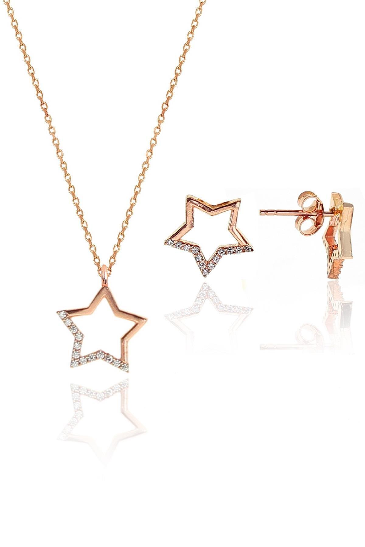 Söğütlü Silver Gümüş rose zirkon taşlı yıldız kolye ve küpe gümüş ikili set 0