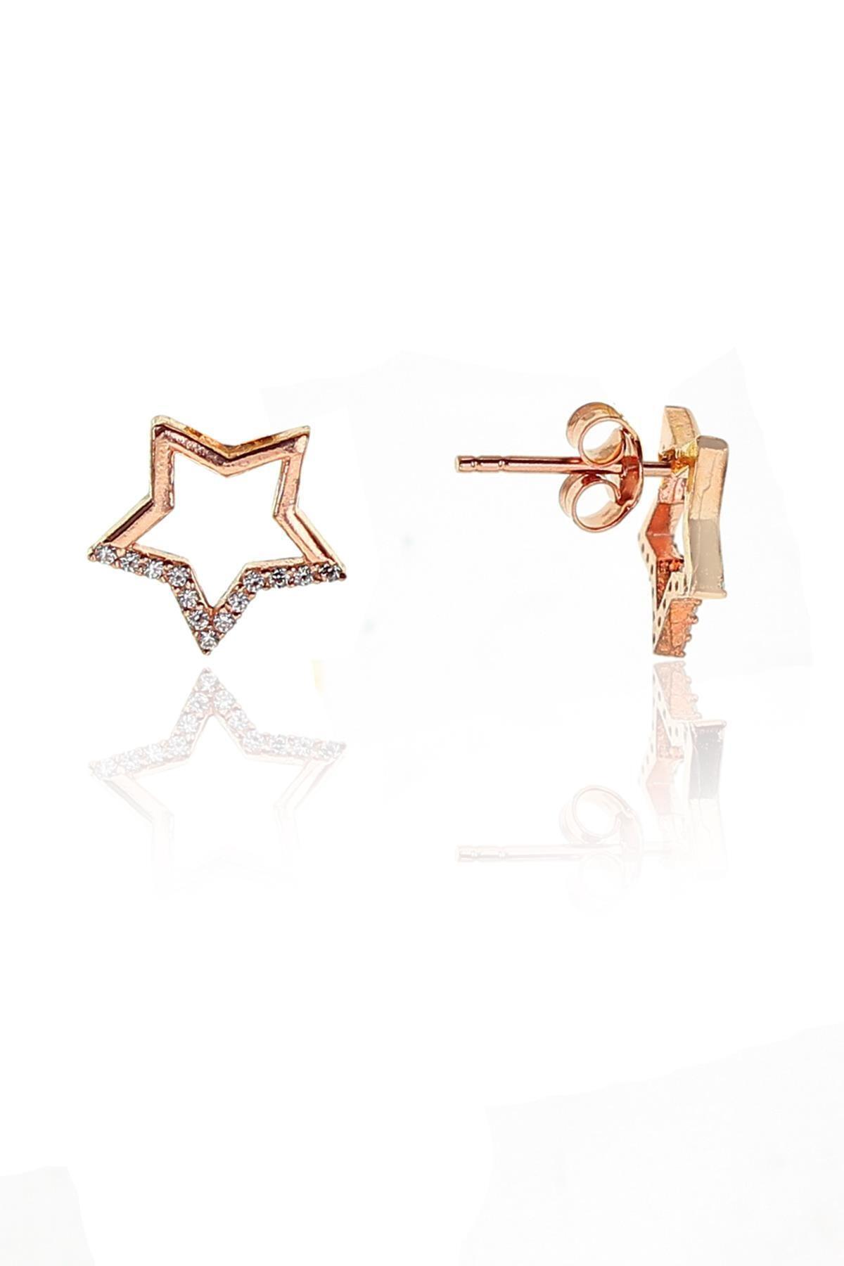 Söğütlü Silver Gümüş rose zirkon taşlı yıldız kolye ve küpe gümüş ikili set 2