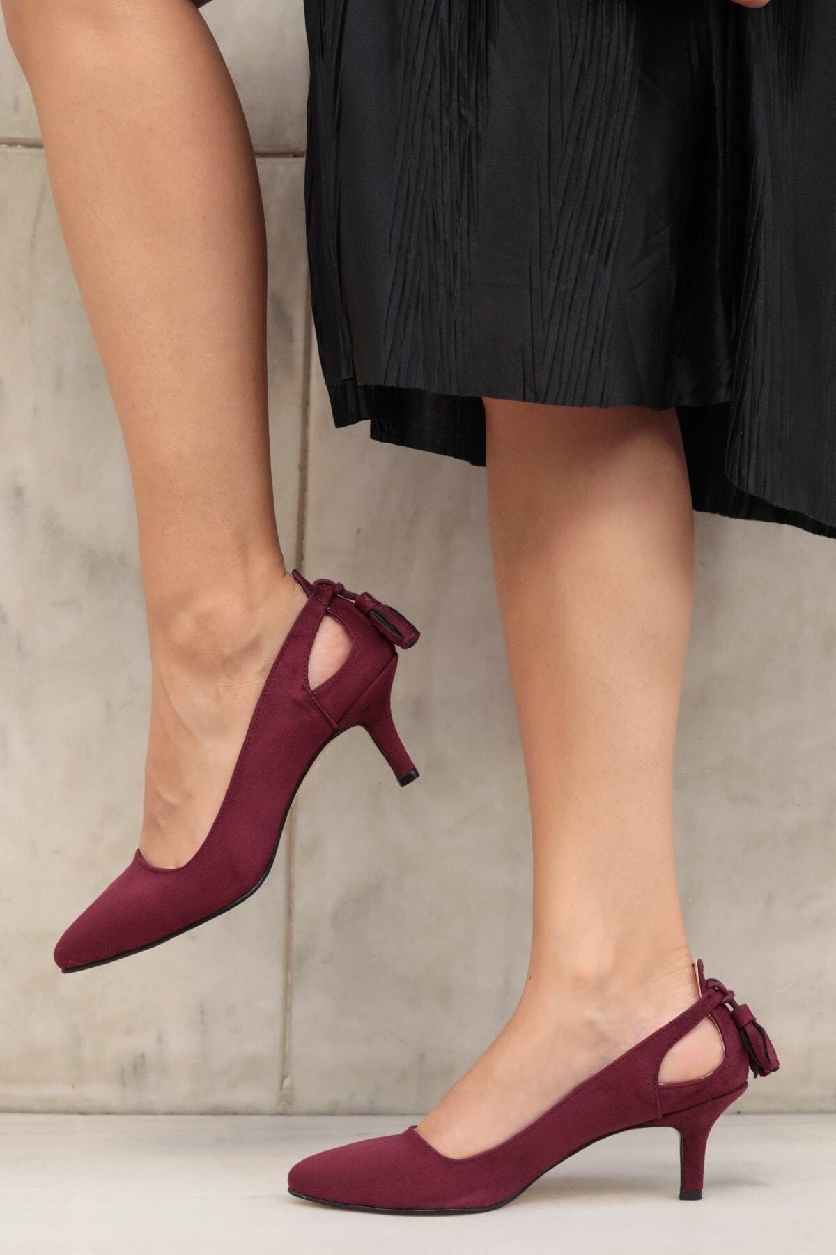 Drop Bordo Süet Topuklu Ayakkabı