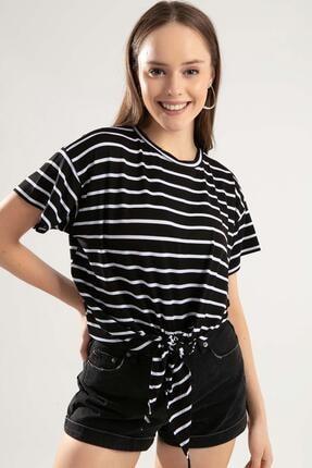 Kadın Bağlamalı Kısa Kol Tişört Y20s126-10589-1 resmi
