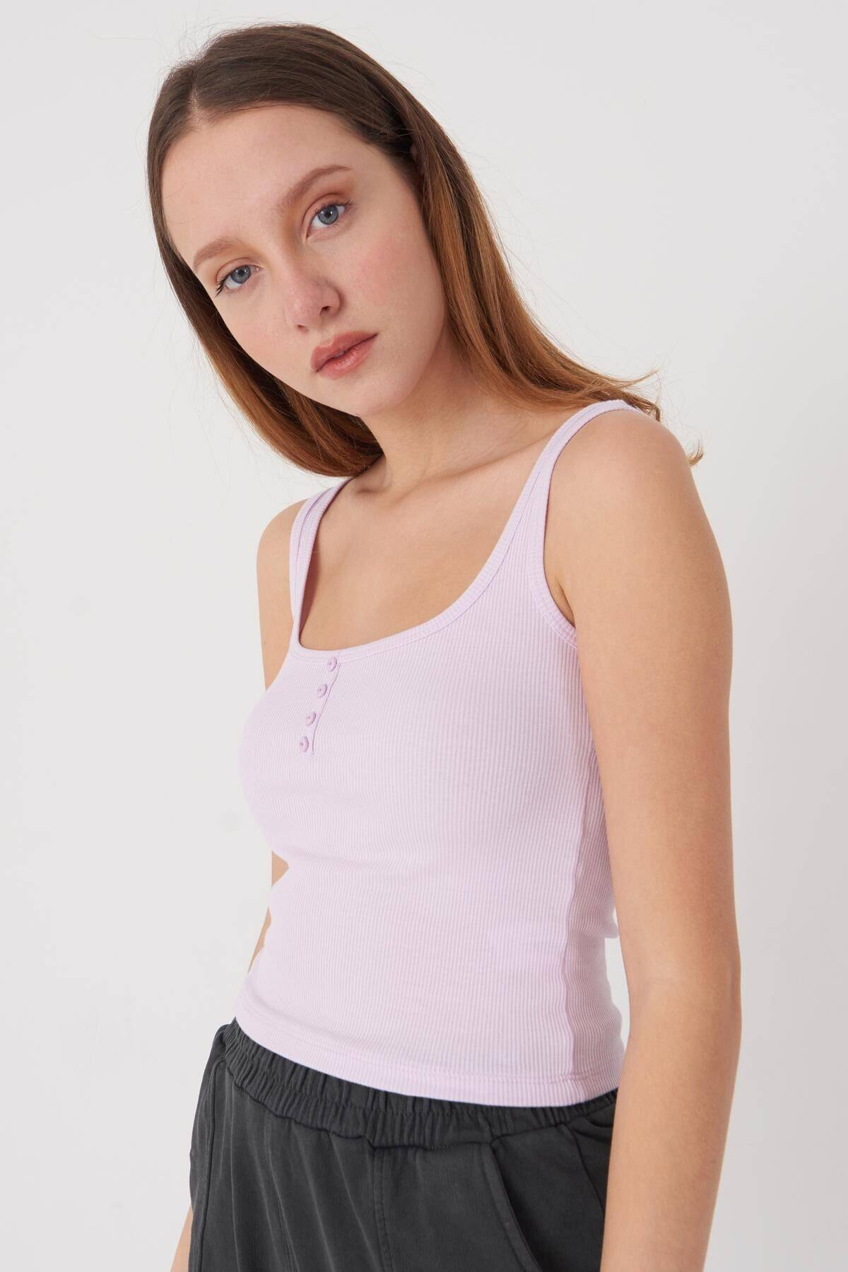 Addax Kadın Açık Lila Askılı Bluz A0963 - Dk11 Adx-0000022397 0