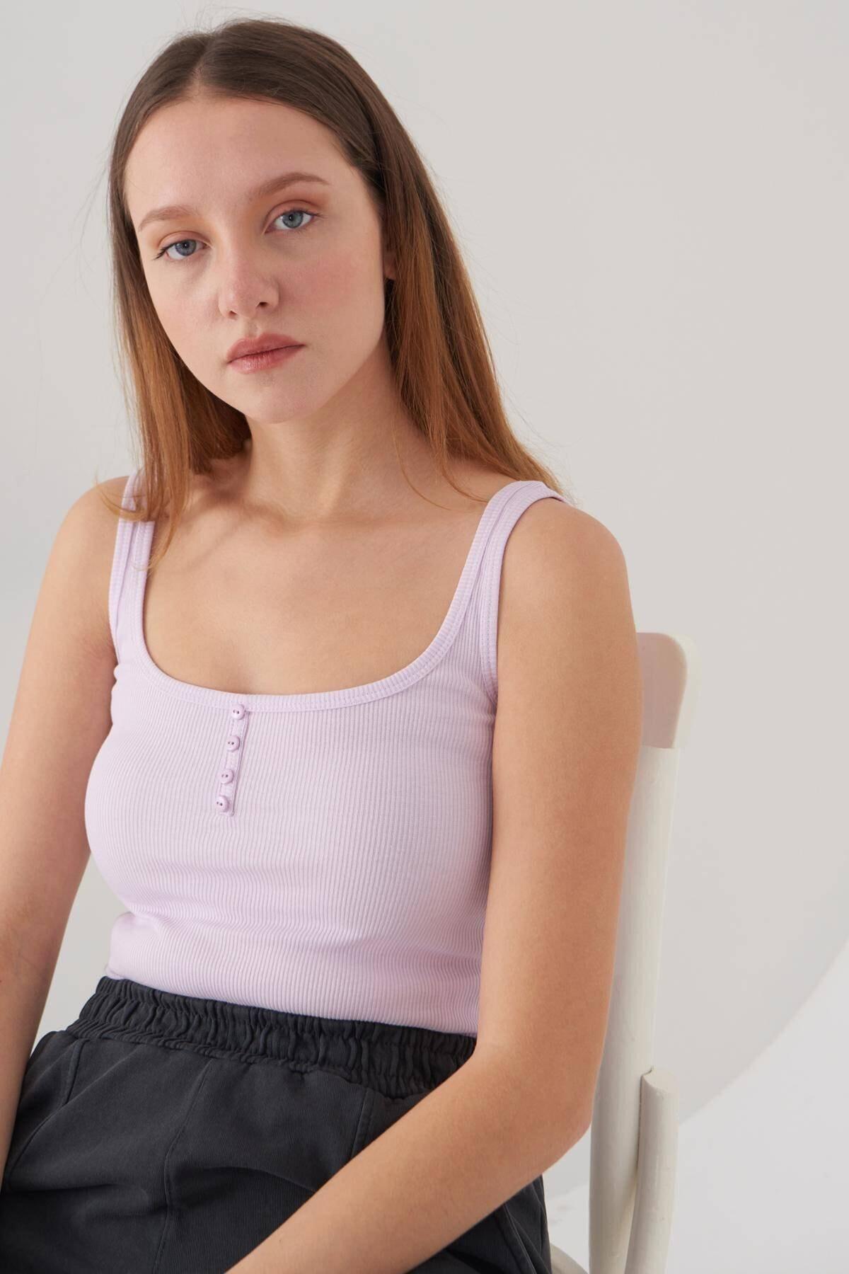 Addax Kadın Açık Lila Askılı Bluz A0963 - Dk11 Adx-0000022397 2