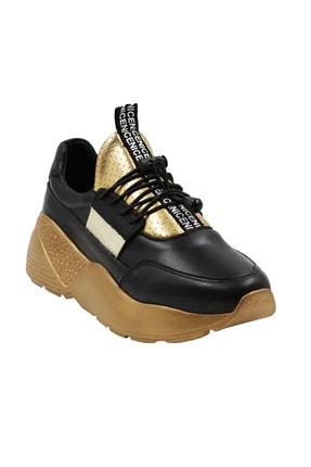 Abbondare Kadın Siyah Altın Spor Ayakkabı 0