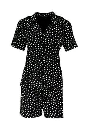 House of Silk Yumuşak Puantiye Desenli Siyah Esnek Şort Pijama Takımı 0