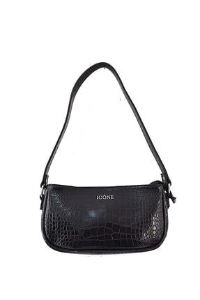 ICONE BAG Kadın Siyah Timsah Desenli Küçük Kol Çantası 1