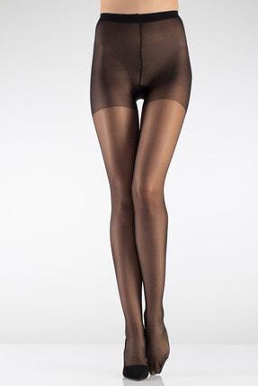 İTALİANA Kadın Siyah 15 Den Parlak Burunsuz Topuklu Külotlu Çorabı 1106 0