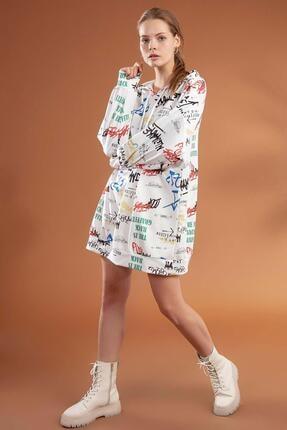 Pattaya Kadın Yazı Baskılı Kapşonlu Oversize Elbise Sweatshirt Y20w110-4125-3 0