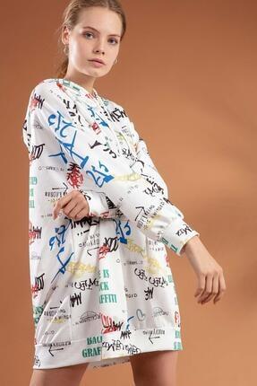 Pattaya Kadın Yazı Baskılı Kapşonlu Oversize Elbise Sweatshirt Y20w110-4125-3 3