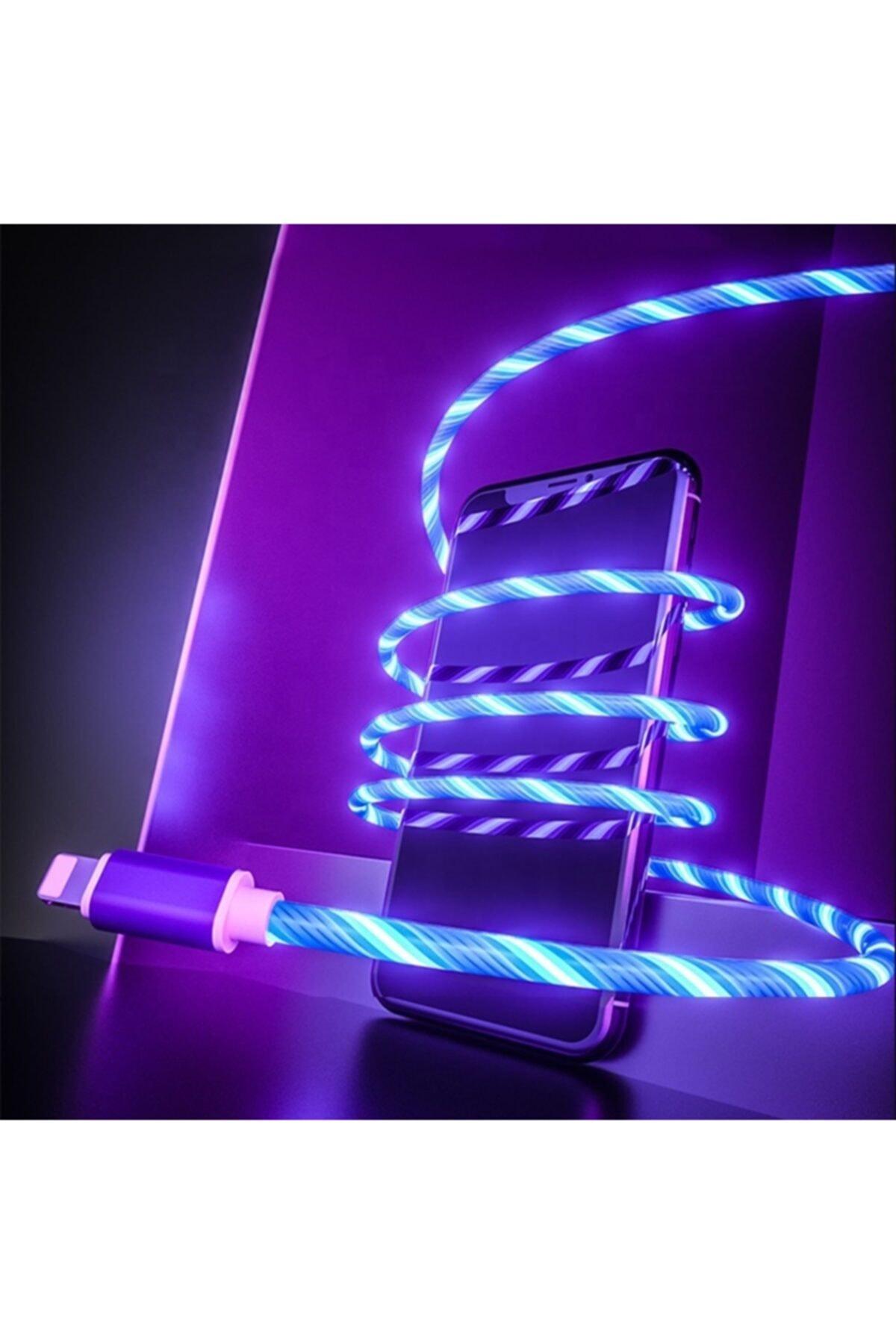 Mavi Renk Neon Işıklı Ledli Yeni Nesil Iphone Kablo