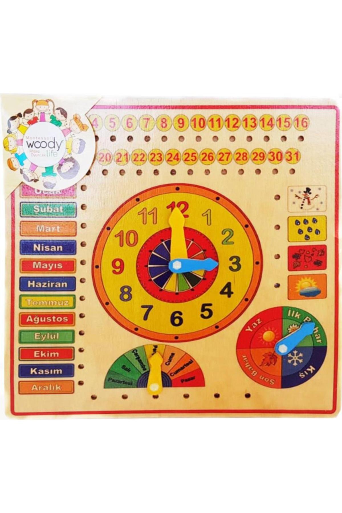 Ahşap Saat Iklim Mevsim Saat Öğrenme Takvimi Eğitici Ve Zeka Geliştiren Oyuncak