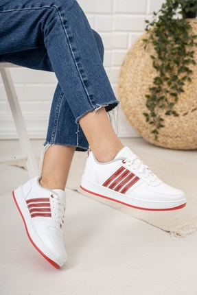 Moda Değirmeni Beyaz Kırmızı Kadın Sneaker Md1053-101-0002 1