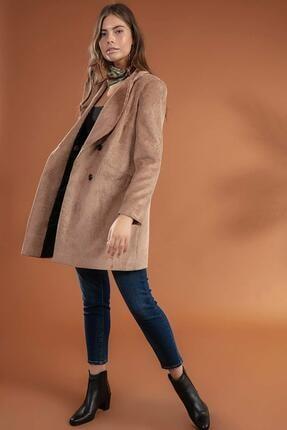 Y-London Kadın Camel  Önü Cepli Kruvaze Fitilli Kadife Ceket  Y19W109-38065 1