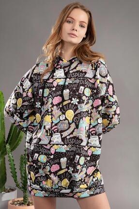 Pattaya Kadın Grafik Desenli Kapşonlu Oversize Elbise Sweatshirt Y20w110-4125 2
