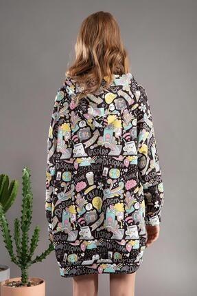 Pattaya Kadın Grafik Desenli Kapşonlu Oversize Elbise Sweatshirt Y20w110-4125 3