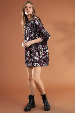 Pattaya Kadın Grafik Desenli Kapşonlu Oversize Elbise Sweatshirt Y20w110-4125-7 2