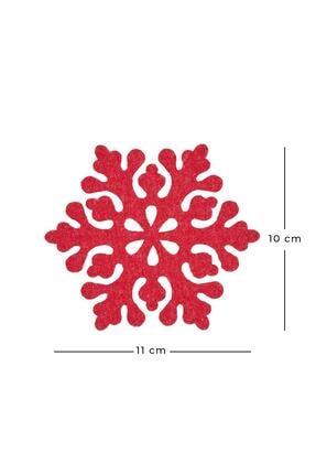 Ocean Home Kırmızı Keçe Kar Tanesi Bardak Altlığı 3'lü 2