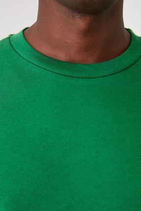TRENDYOL MAN Yeşil Erkek Regular Fit Bisiklet Yaka Uzun Kollu Sweatshirt TMNAW20SW0165 4