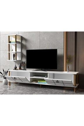 ayaz home Lotus Tv Ünitesi Beyaz 2