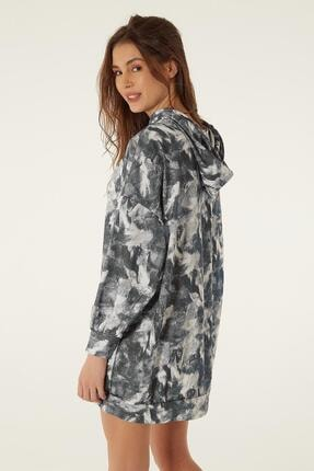 Pattaya Kadın Baskılı Kapşonlu Sweatshirt Elbise P20w-4125-2 3