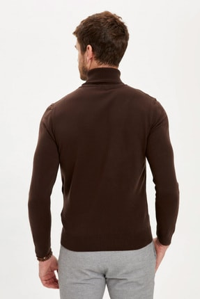 Defacto Erkek Kahverengi Balıkçı Yaka Slim Fit Triko Kazak R1124AZ20WN 3